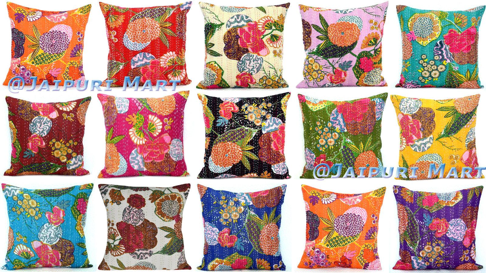 Boho Cotton Pillow Cover Green 24 x 24 Vintage Patchwork Cushion Cover 1 Pc