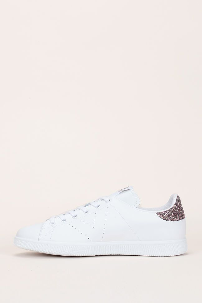 Sneakers en cuir blanc talon paillettes roses 3 | Baskets