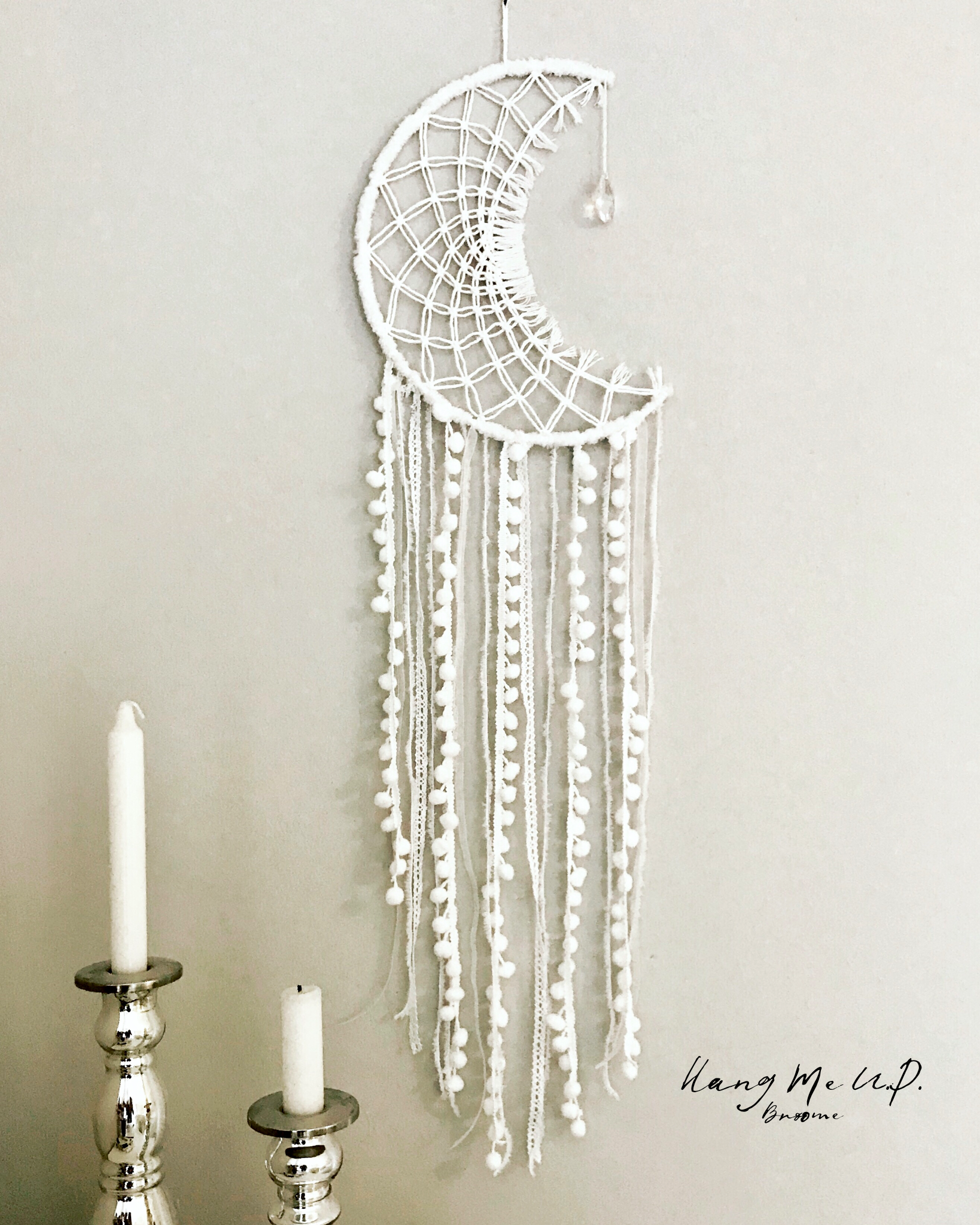 White Macrame Dreamcatcher In Moon Shape This Gorgeous Piece Is Approx 80cm Long On Macrame Patterns Tutorials Macrame Wall Hanging Patterns Macrame Patterns