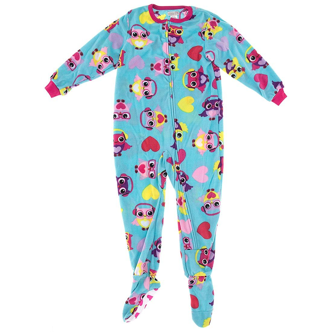 Turquoise Owl Footed Pajamas for Girls | Turquoise, Pajamas for ...