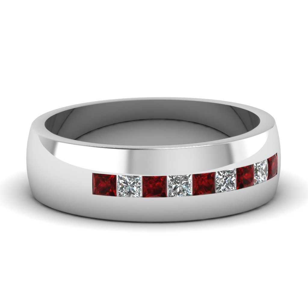 Glittering Grid Ring Man Wedding RingsWhite Gold