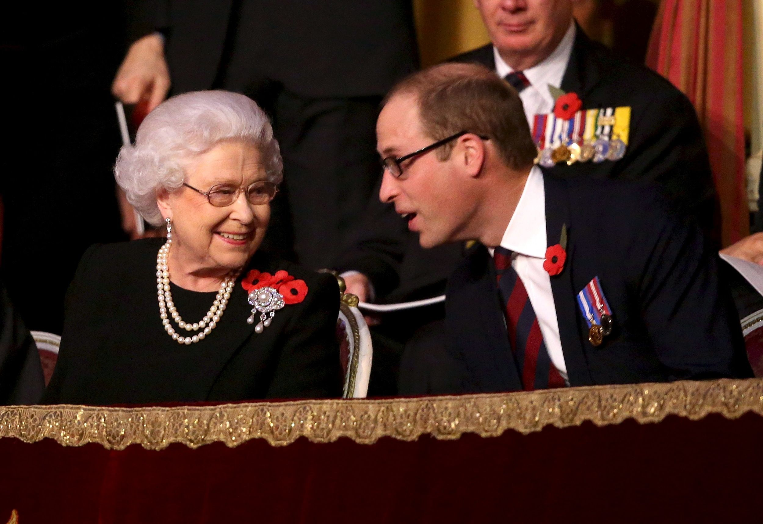 Britain's Queen Elizabeth and Prince William, Duke of Cambridge, (R) chat with each other in the Royal Box at the Royal Albert Hall during the Annual Festival of Remembrance in London November 7, 2015. REUTERS/Chris Jackson/Pool via @AOL_Lifestyle Read more: https://www.aol.com/article/entertainment/2017/06/19/prince-william-grenfell-tower-visit/22489423/?a_dgi=aolshare_pinterest#fullscreen