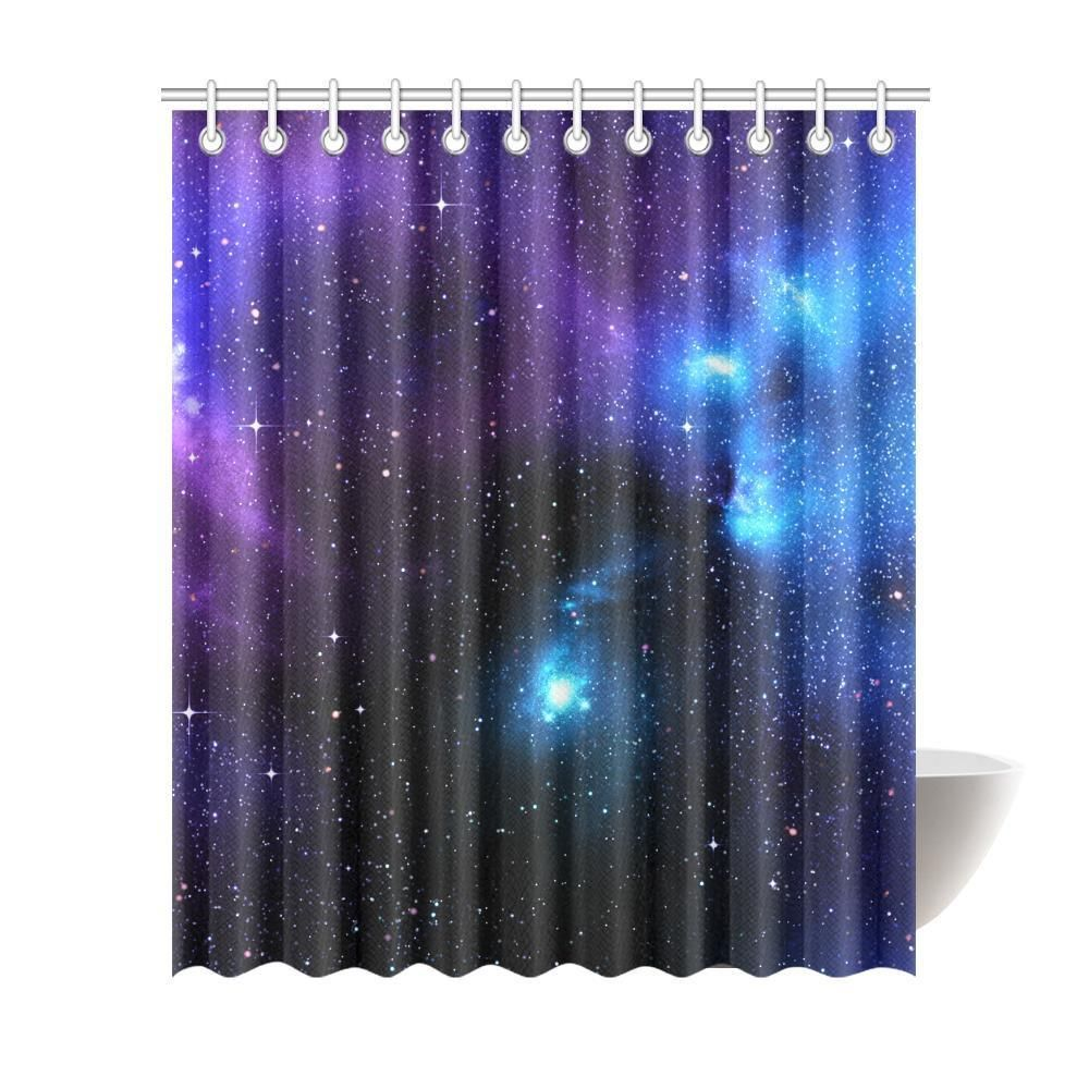 Dark Purple Blue Galaxy Space Print Extra Long Shower Curtain