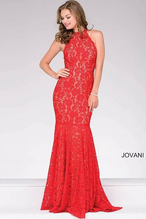 Red High Neck Lace Fitted Prom Dress Jovani 42220 | Prom Dresses ...