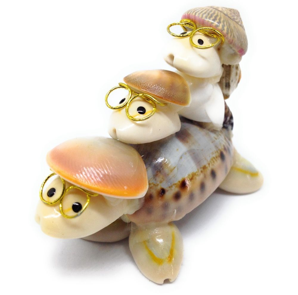 Seashell TURTLE FAMILY FIGURINE Eye Glasses Hats Sea Shell Ocean Animal Decor