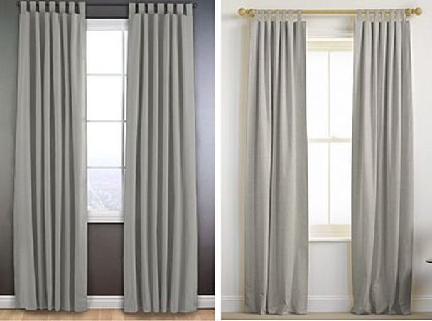 Gold Curtain Rod And Gray Curtains On The Right