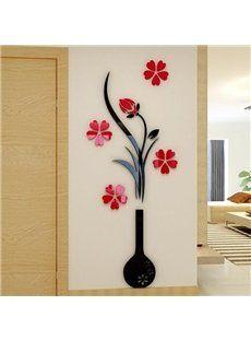 Fashion Diy Home Decor 3D Vase Flower Tree Crystal Arcylic Wall Stickers Vinyl