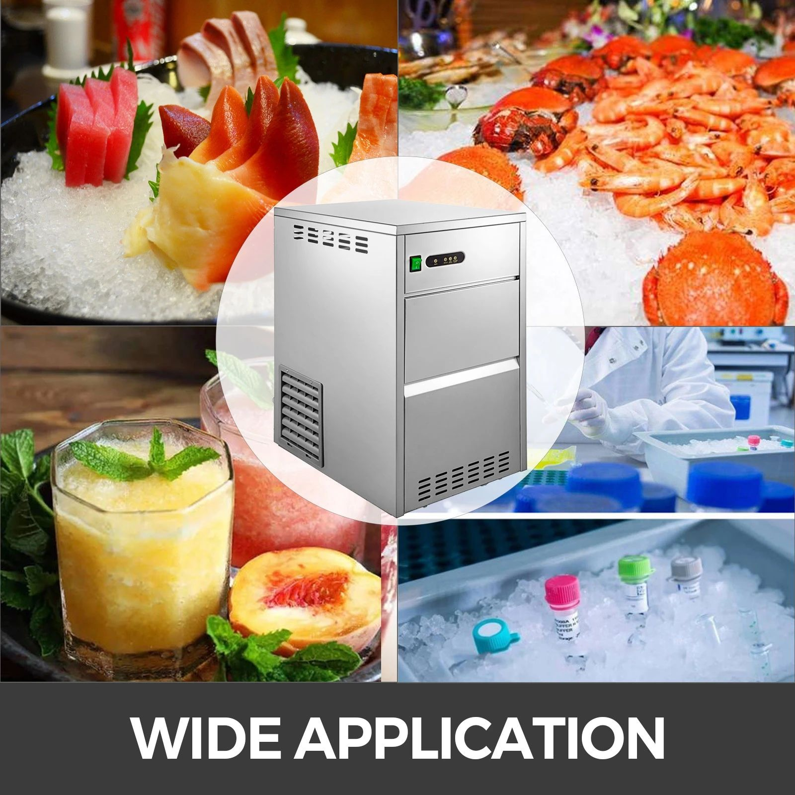 Full Stainless Steel Housing Flake Ice Maker Produces Small Particles Of Irregular Snow Ice Countertop Or Freestanding Applicati Food Industry Food Grade Food