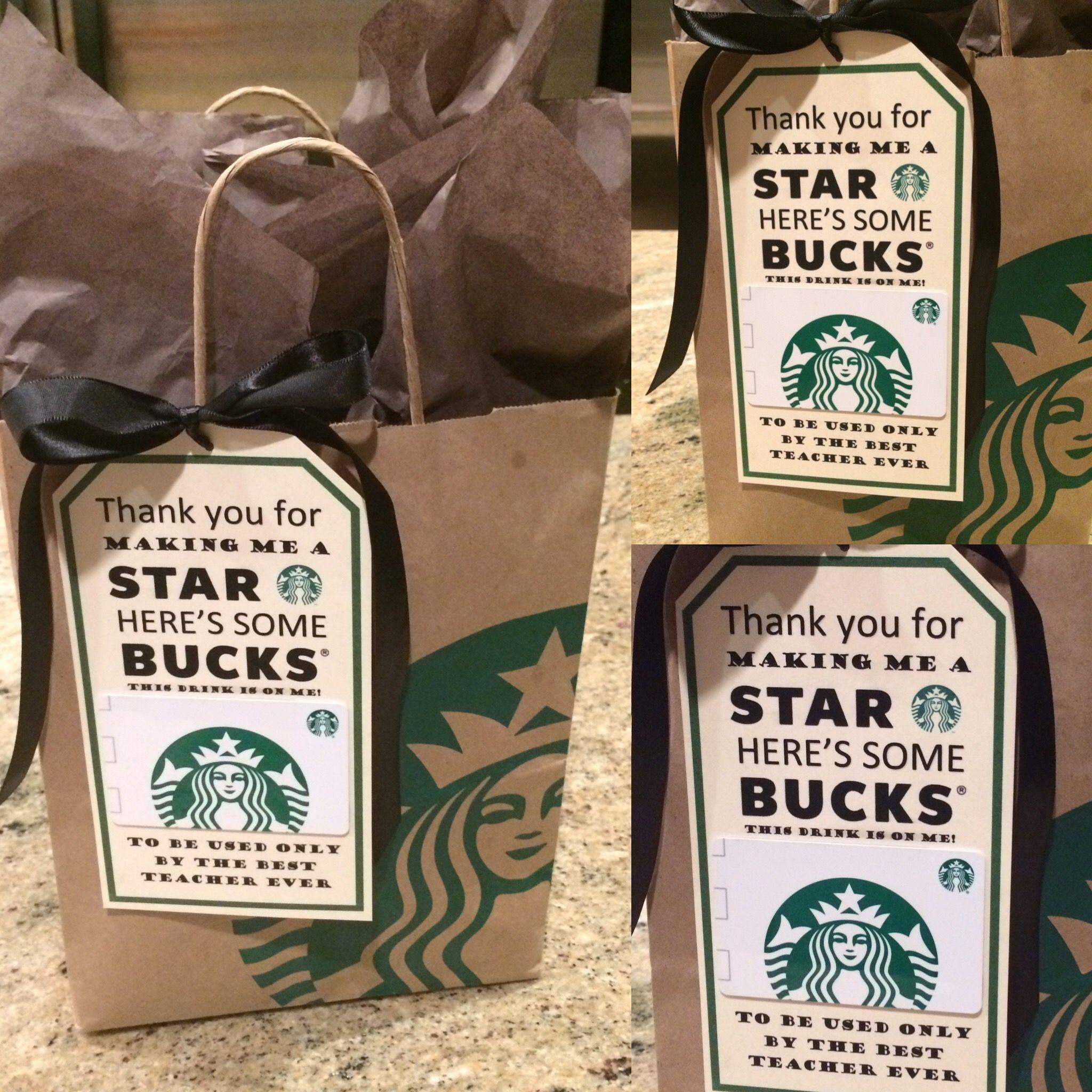 Teacher appreciation gift Starbucks teacher gift idea ...