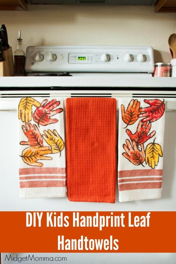DIY Leaf Handprint Hand towels • MidgetMomma