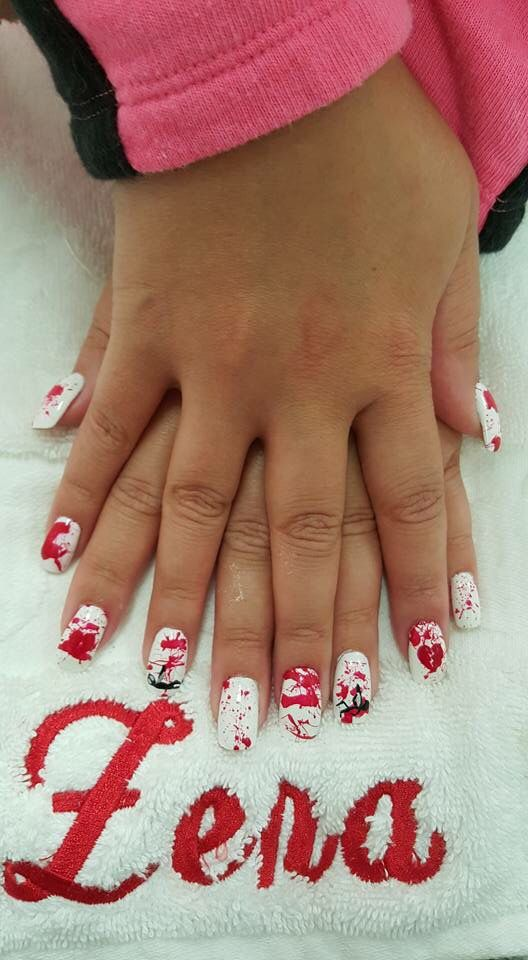 Blood splatter | Halloween nails, Nail spa, Nail designs