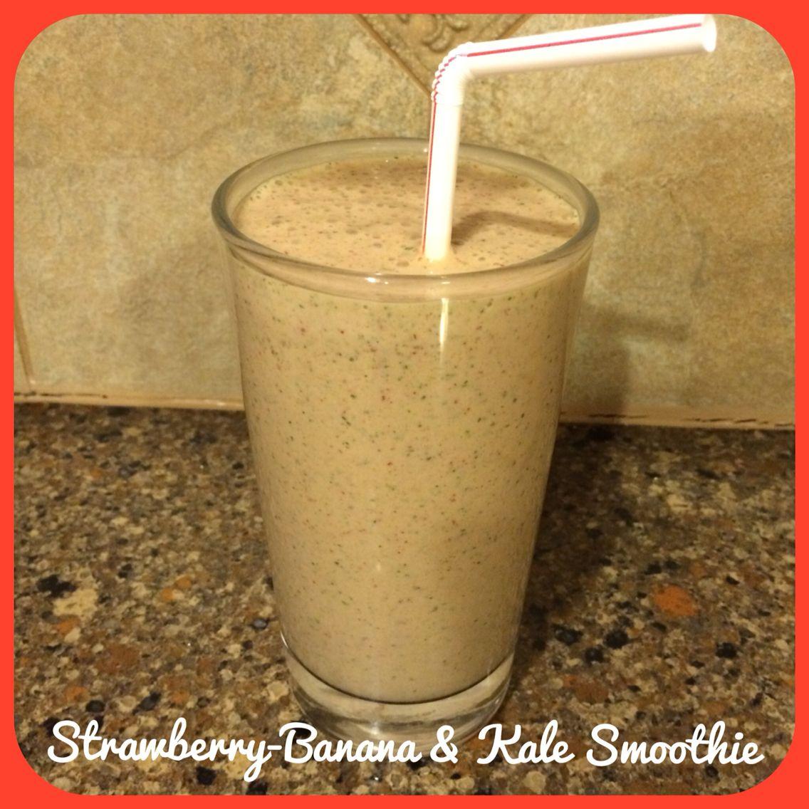 1/2 c skim milk 1/2 c plain, nonfat Greek yogurt 2/3 c kale greens, packed 2/3 c frozen, whole strawberries 1 medium, ripe banana 1.5 tbsp blue agave nectar 1 tbsp ground flaxseed meal (optional) Blend until liquified.  Enjoy.  Makes 1 large smoothie.