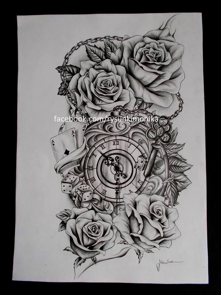 Tattoos Tekenen Clock And Roses Tattoo Drawings Tattoo