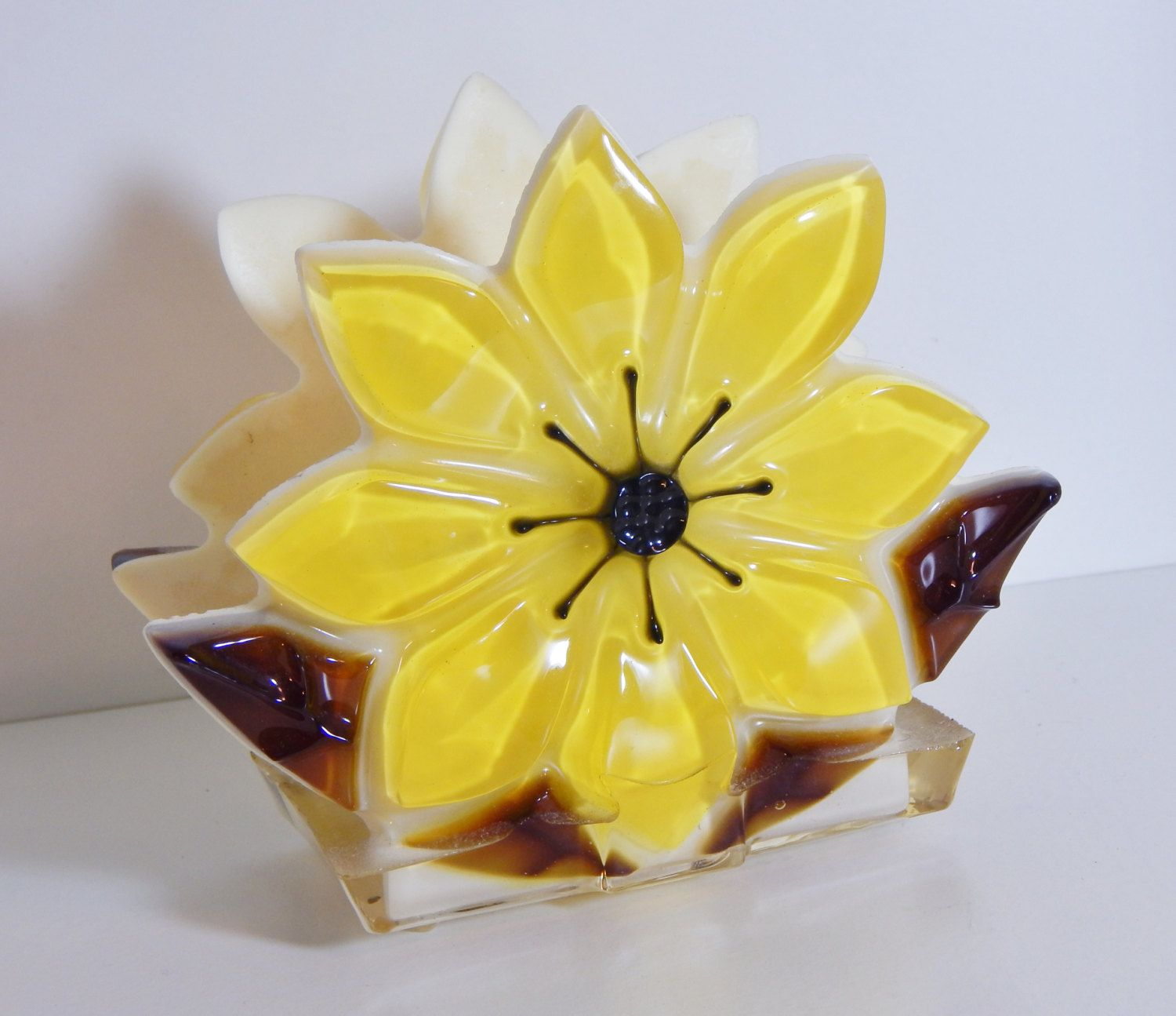 Vintage Napkin Holder Sunflower Mid Century Kitchen Decor Thick Lucite Yellow Brown Eyed Susan Flower Howard S House Of Cards Fitchburg Ma By