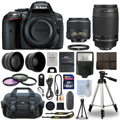Nikon D5300 Digital SLR Camera + 16GB Multi Lens Bundle: 18-55mm VR + 70-300mm #Nikon