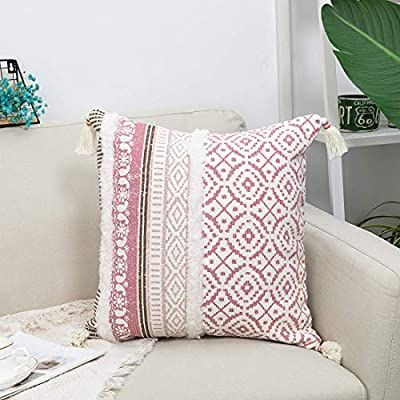 blue page Boho Tufted Decorative Throw Pillow Covers for Couch Sofa - Modern Moroccan Style Pillow Cases with Tassels, Accent Decor Pillow for Bedroom Car Hotel, 18x18 Inches, Pink
