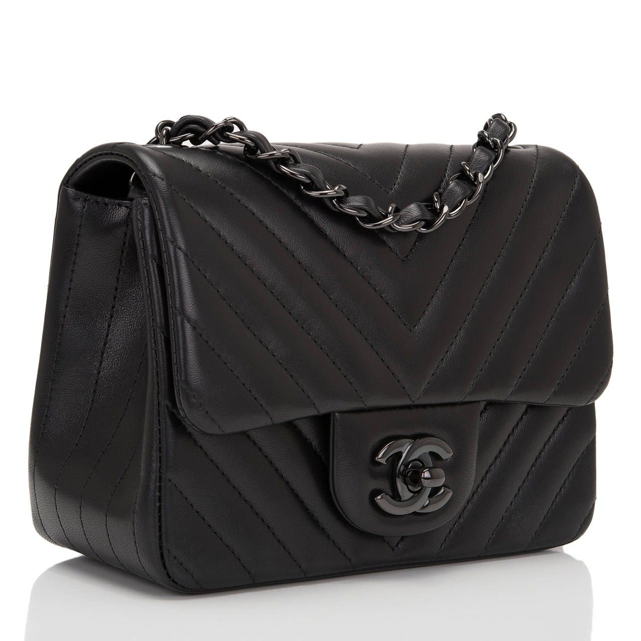 da6b63f430ae Chanel So Black Chevron Mini Flap Bag | From a collection of rare vintage  shoulder bags