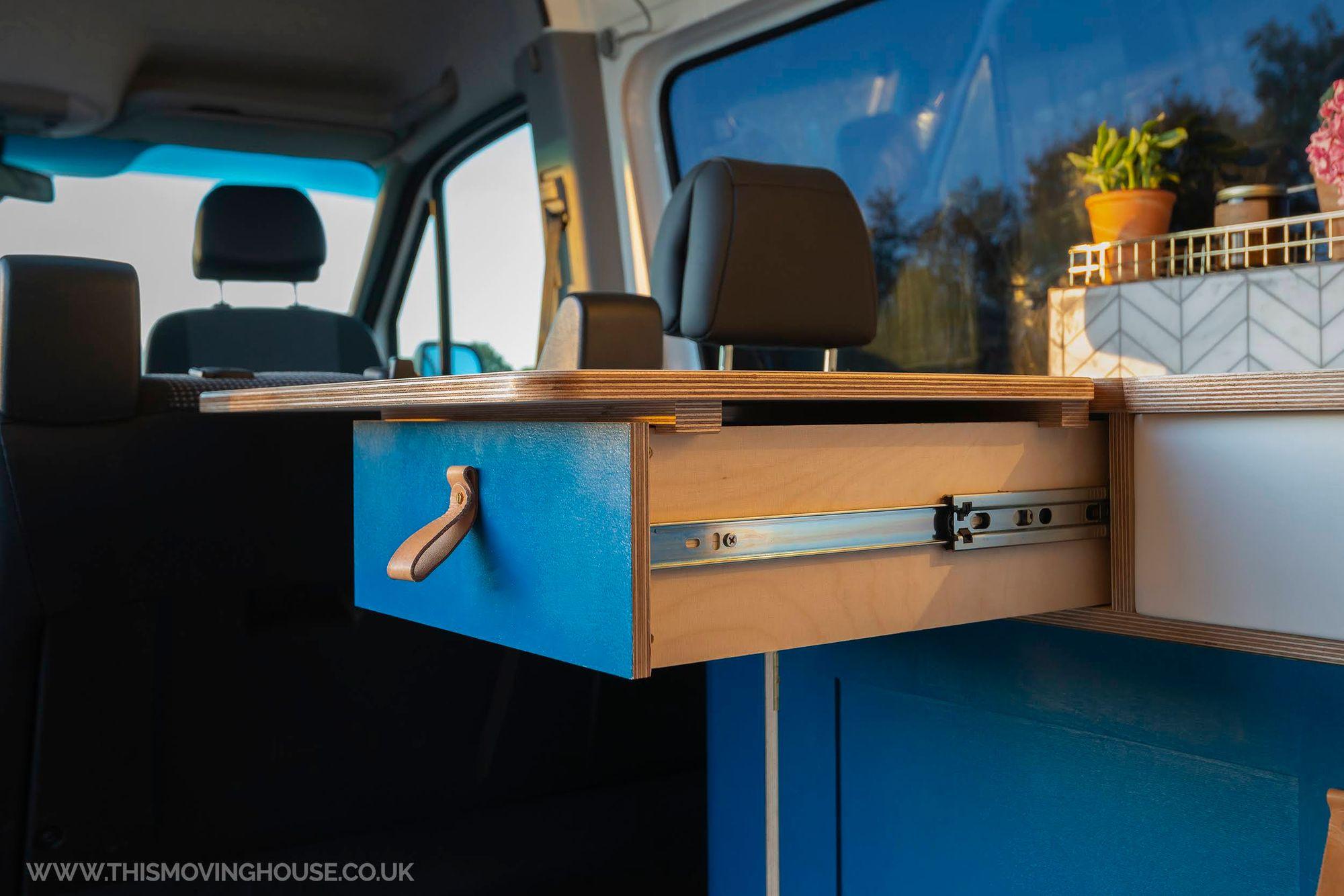 Kitchen Worktop Extension Support In A Camper Van Conversion Moving House Blue Vans Campervan Interior