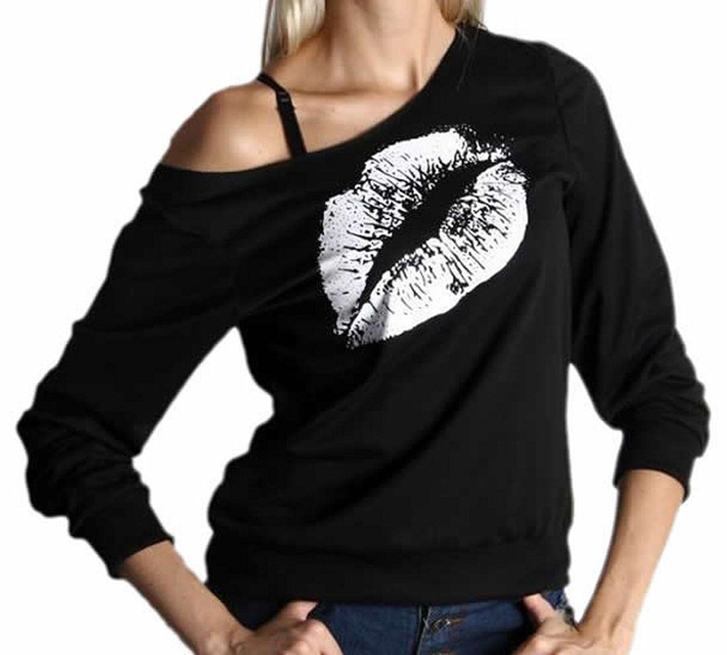 Generic Women's Fashion Print Off Shoulder Long Sleeve Pullover Tops *** This is an Amazon Affiliate link. Check out the image by visiting the link.