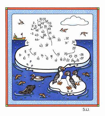 Malen nach Zahlen, Walross mit Papageitauchern, Bilderrätsel, Punkte ...