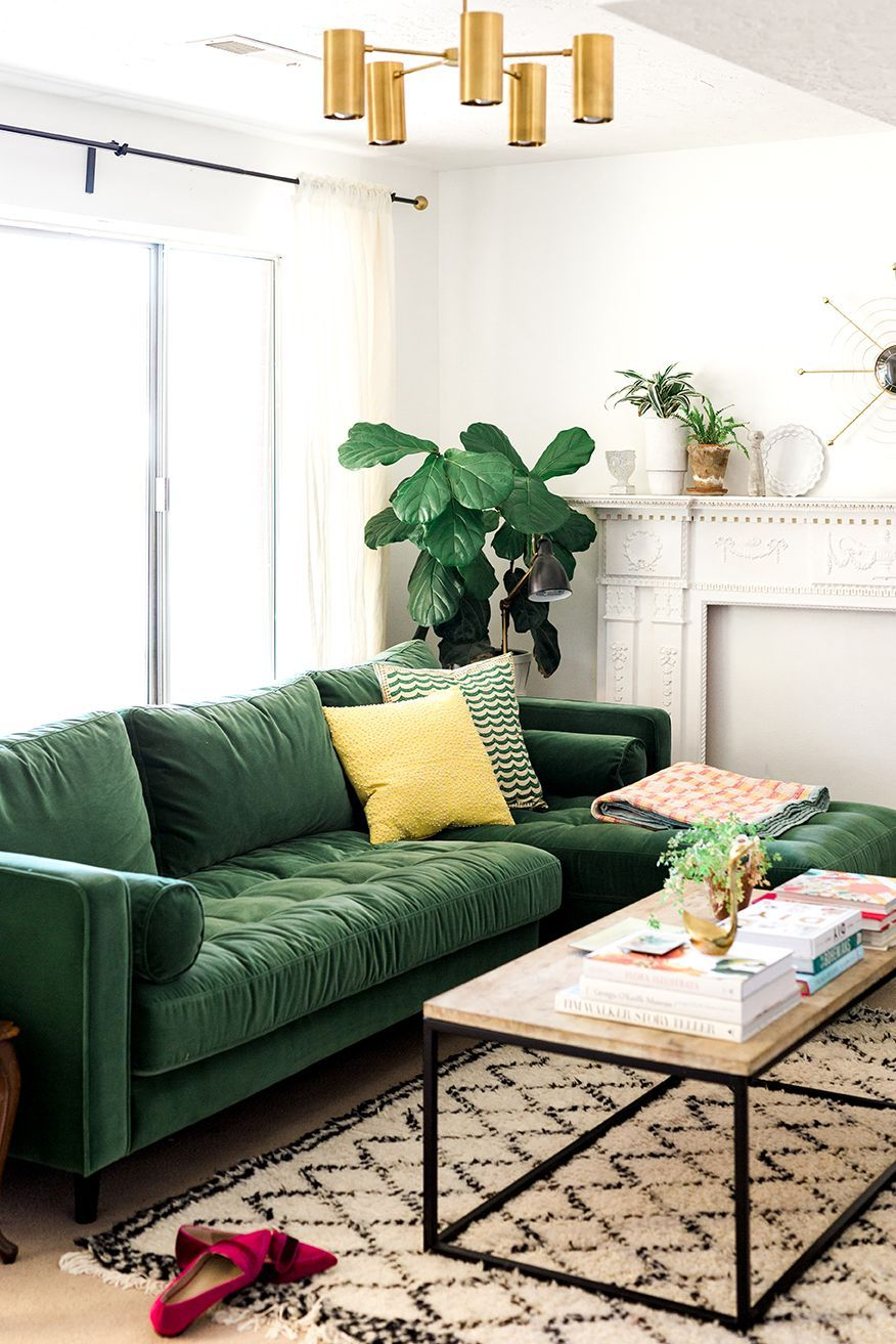 Living Room With Cool Emerald Green Sofa By Article Interiordesignlivingroom Green Sofa Living Living Room Green Green Sofa