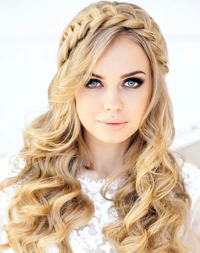 Braided headband and curls hairstyles for prom girl  Prom Party