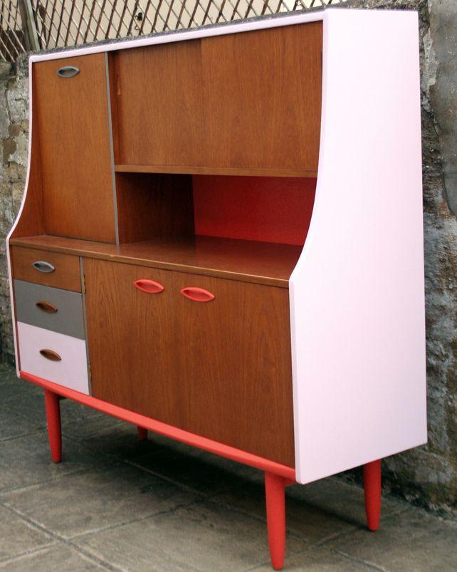 Upcycled Jentique Teak Highboard Sideboard Retro Vintage Mid Century