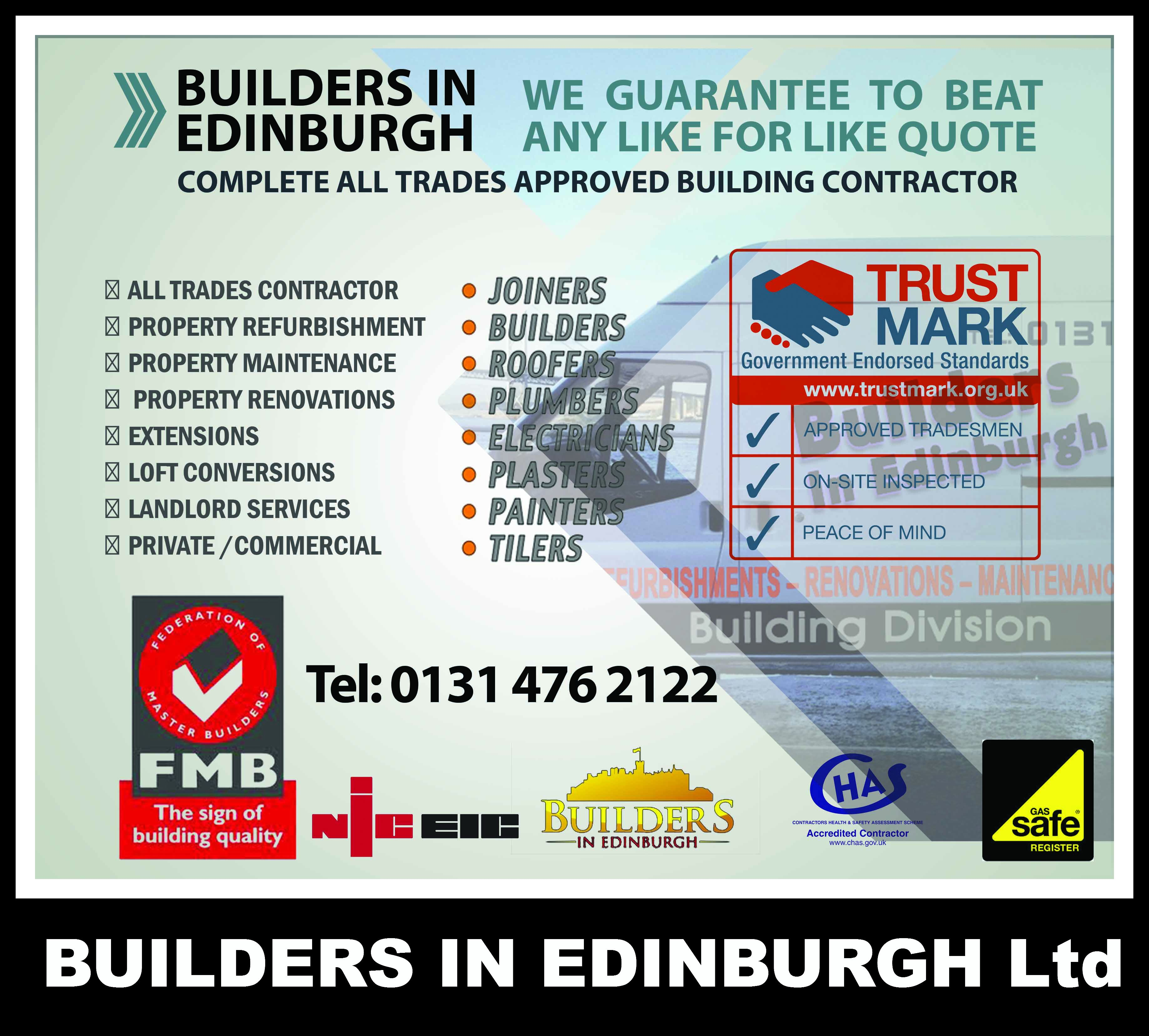 Builders In Edinburgh Carry Out Refurbishments And Renovations In Domestic And Commercial Premises Throughou Building Contractors Property Renovation Edinburgh