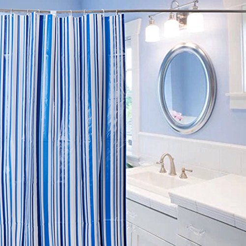 Cren PEVA Antimicrobial Mildew Resistant Blue Shower Curtain Liner 70 Inch By 72