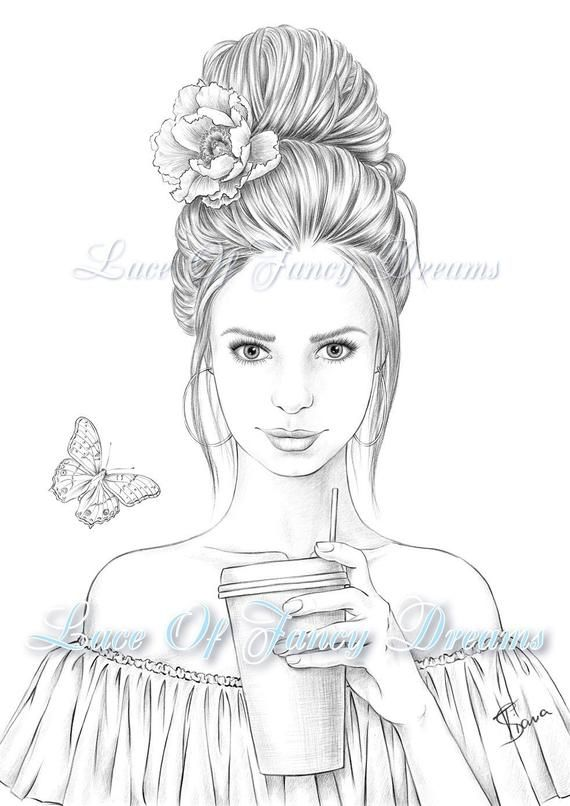 Coloring page for adult Beautiful woman coloring sheet to ...