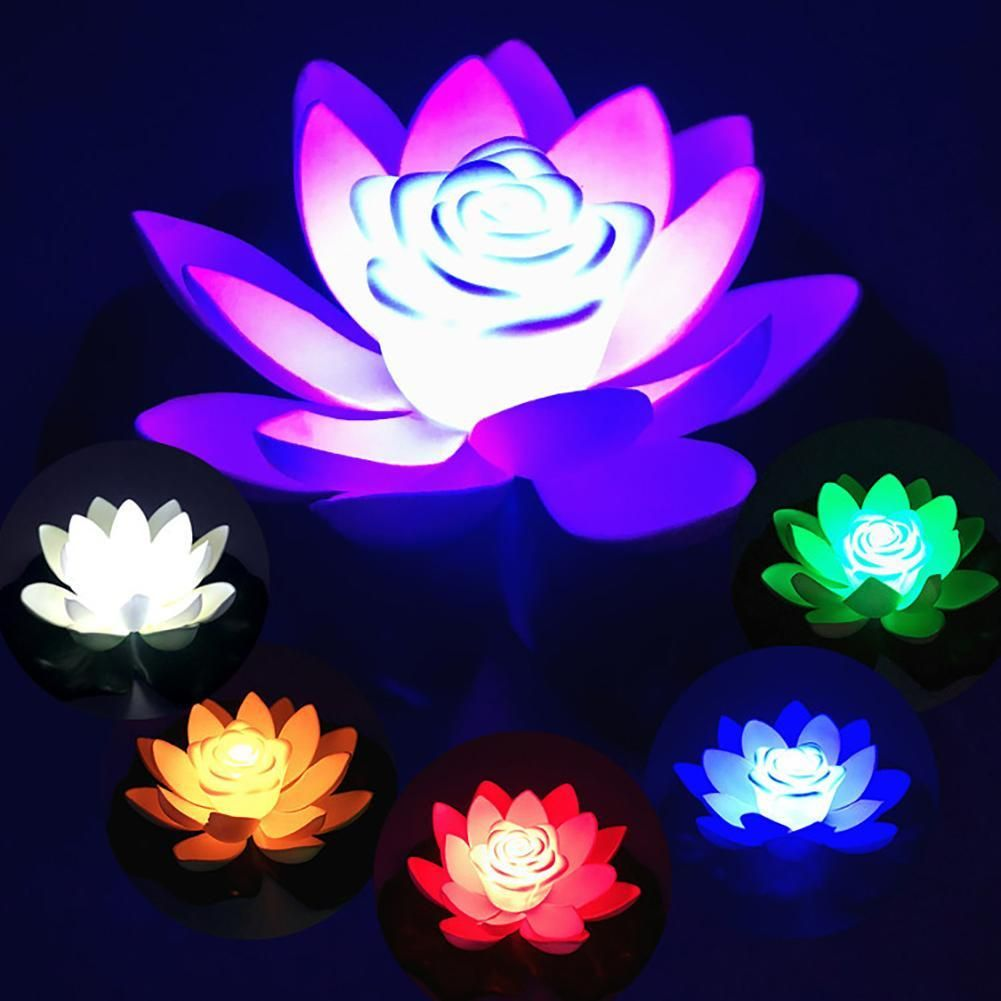 18/28cm Artifical Floating Lotus Solar Powered Night Light LED Energy Saving Lotus Lamp Garden Pool Pond Fountain Decoration - Red 28cm
