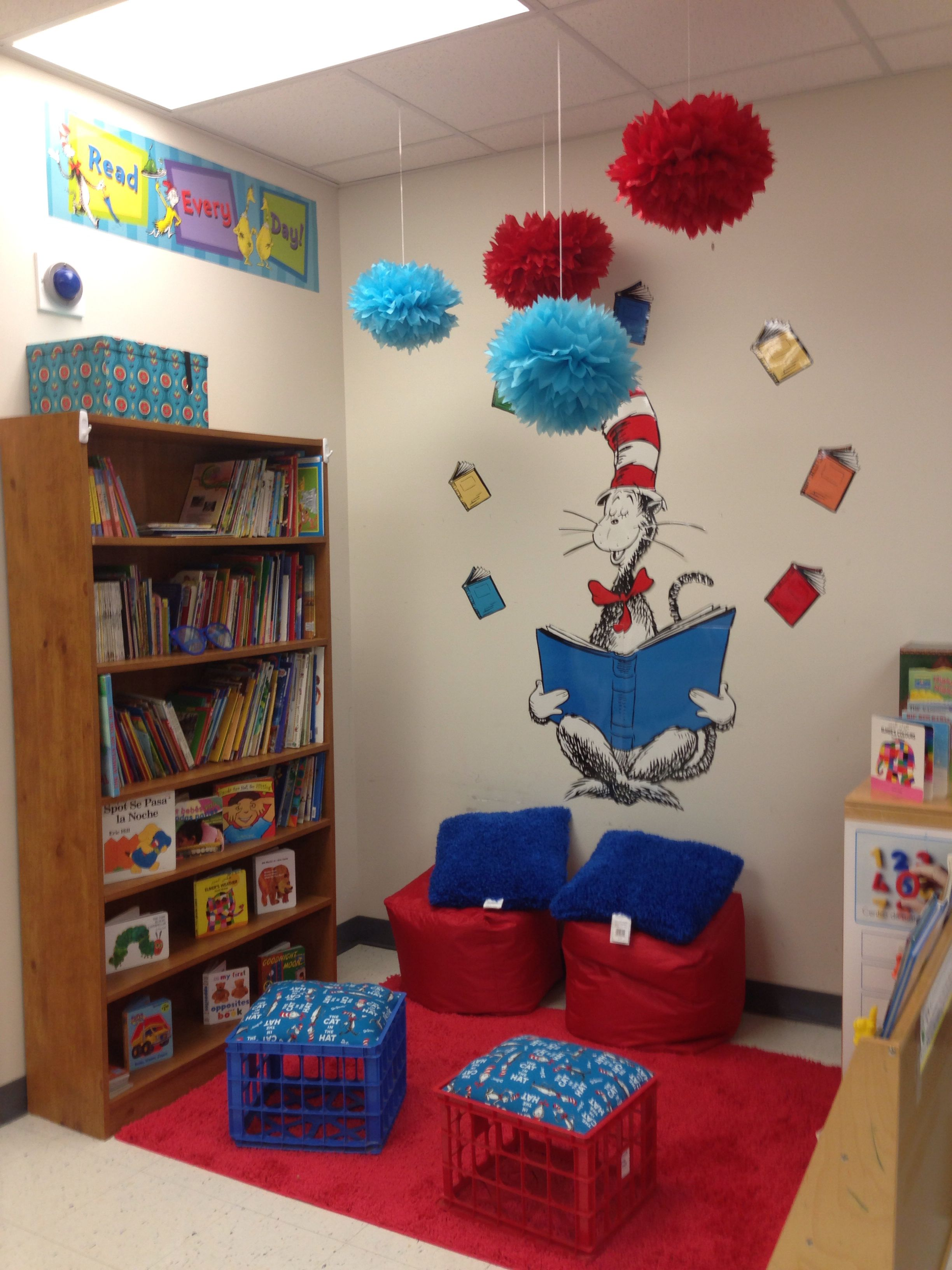 Cat In The Hat Classroom Theme Reading Center Reading Corner Classroom Classroom Decor Classroom Decorations