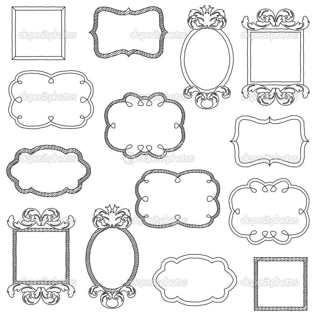 vector set doodle kaders en randen - Stockillustratie ...