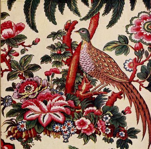 pheasant and palm. chintz.