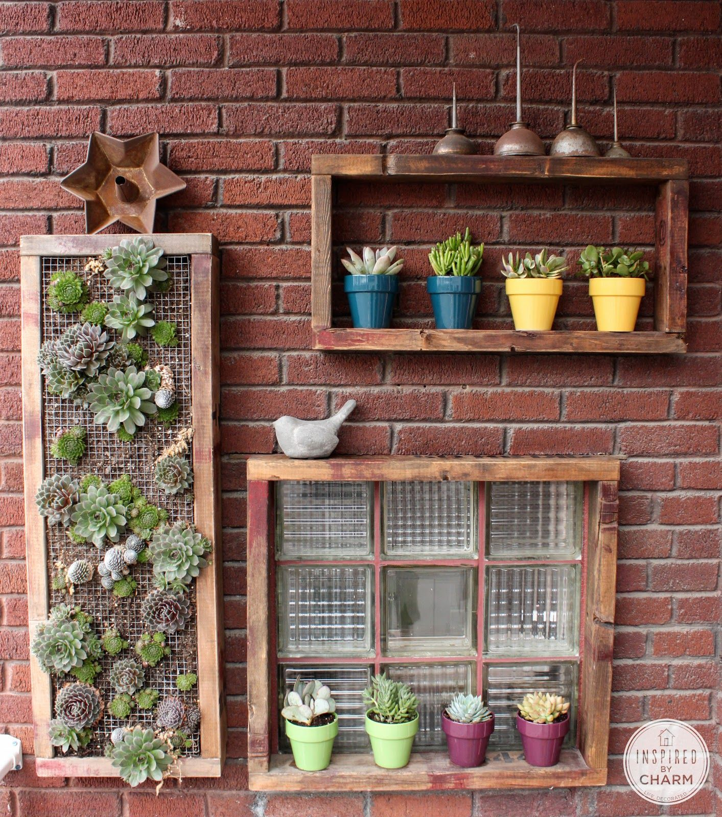 Inspired By Charm Organic Outdoor Wall Art Shelves Succulent