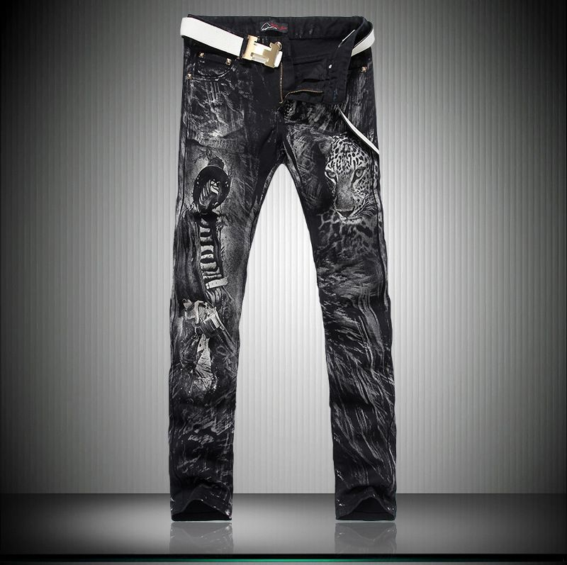 Click To Buy Black Painted Personalized Printing New Winter Leopard Head Men Casual Slim Small Straight Le Black Jeans Men Skinny Jeans Men Fashion Pants