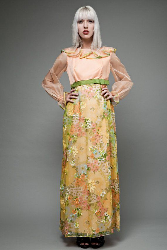 f44e84743d vintage 70s prairie dress empire waist maxi orange sheer floral ruffles  long sleeves M MEDIUM (27