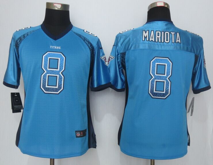 Hot Womens Tennessee Titans 8 Mariota Drift Fashion Blue Men Nike Elite