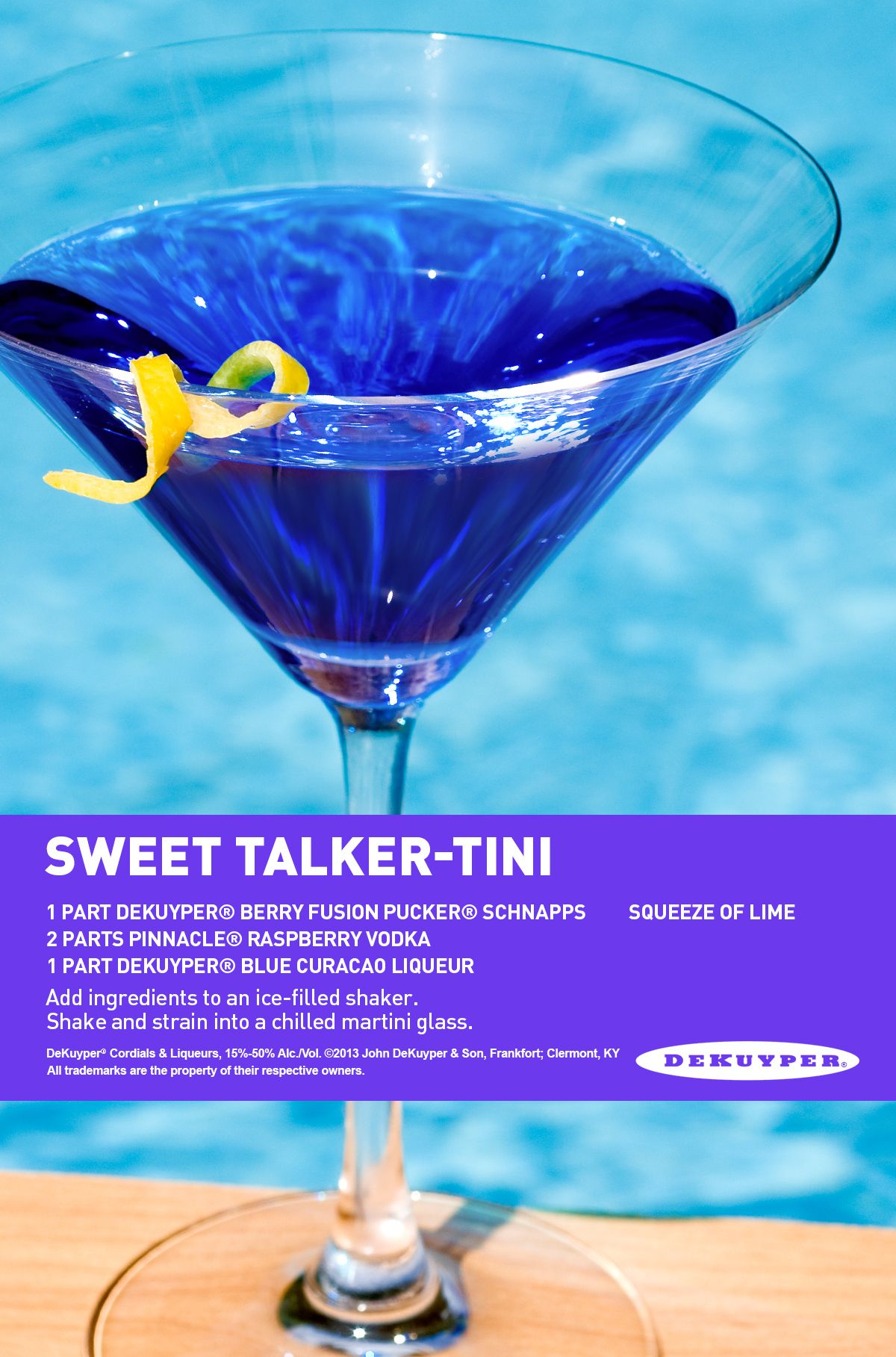Sweet Talker-tini Recipe. 1 Part DeKuyper® Berry Fusion
