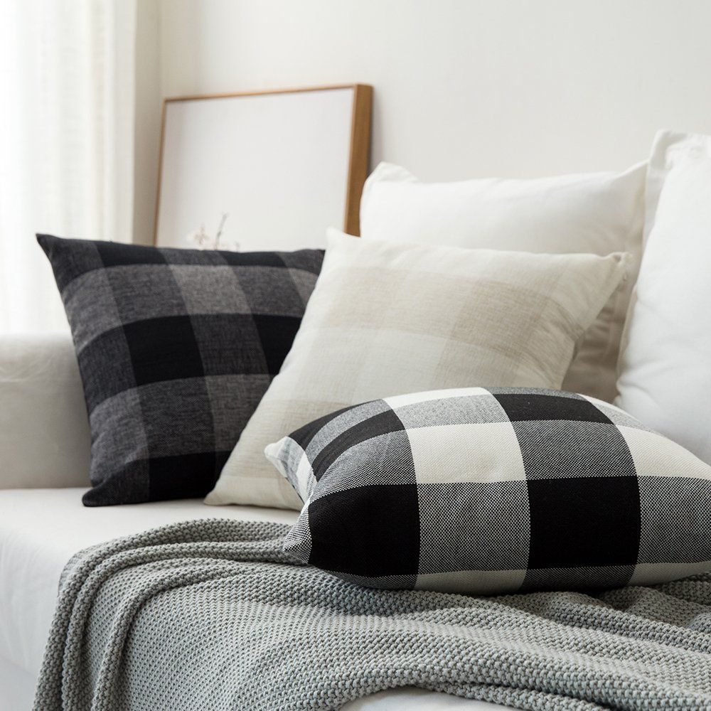 MIULEE Pack of 2 Classic Retro Checkers Plaids Cotton Linen Soft Solid Black and