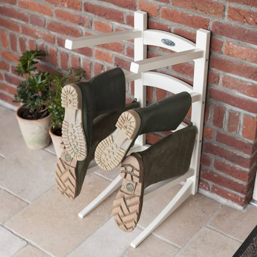 Floor Standing Wellington Boot Rack at STORE. Store the families boots and wellies on our stylish cream wooden welly storage rack. & Floor+Standing+Wellington+Boot+Rack | Garden | Pinterest ...