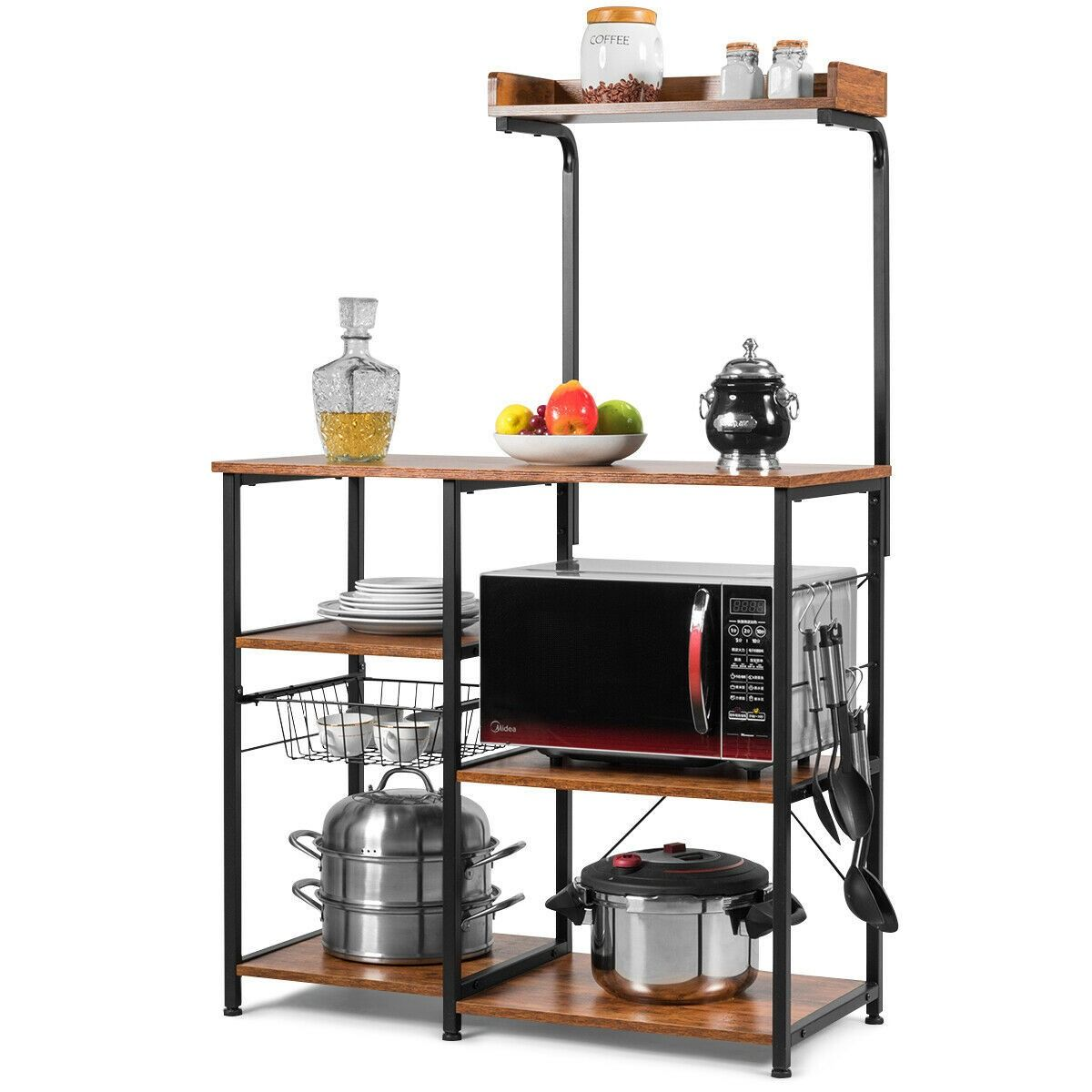 4 Tier Kitchen Baker S Rack With Basket And 5 Hooks 79 95 Free
