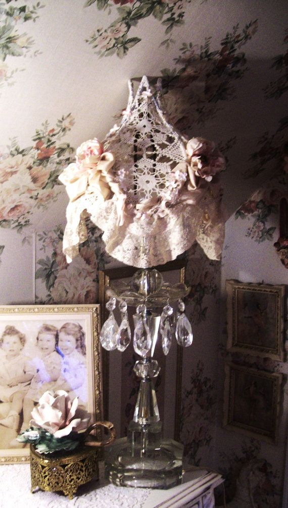 Vintage Crystal Lamp With Hand Made Lace Shade Pink Lamp Pink