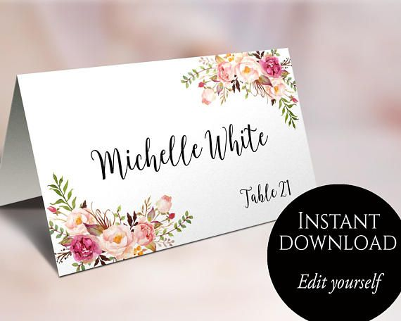 Wedding place cards place card template editable reserved seating wedding place cards place card template editable reserved seating cards folded name card floral place cards tent cards food cards c1 solutioingenieria Gallery