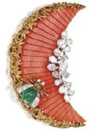 Emerald, Diamond, and Coral Brooch by David Webb