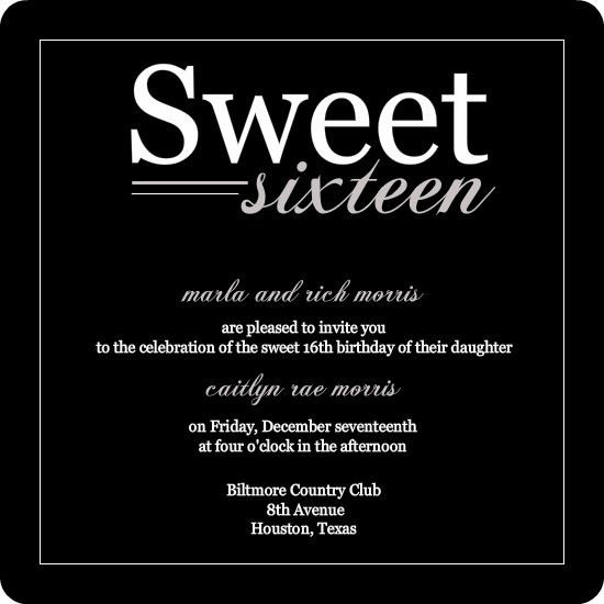 Black Modern Sweet Th Birthday Invitation By PurpleTrailcom - Sweet 16 party invitation templates