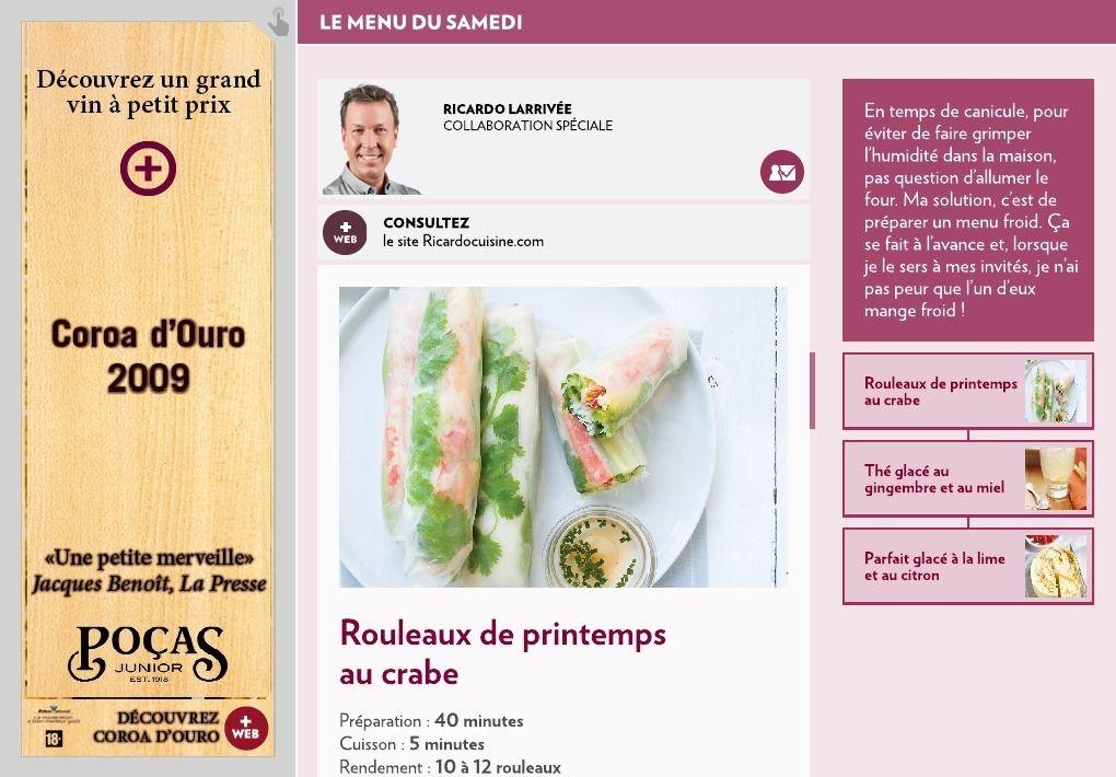 Le menu du samedi - LaPresse+