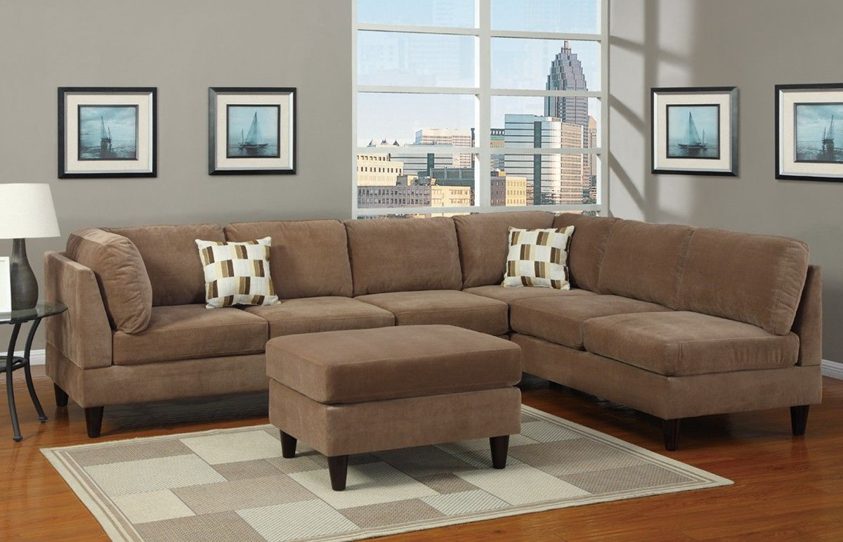 Poundex 3 Pc Tan Microfiber Fabric Upholstered Sectional Sofa With Reversible Chaise And Ottoman