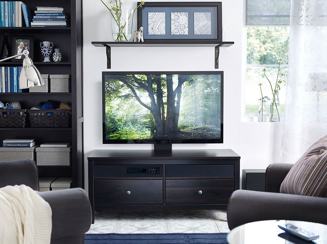 Banc Tv Hemnes Uppleva Brun Noir Avec Tv 40 Led Home  # Meuble Tv Brun Noir