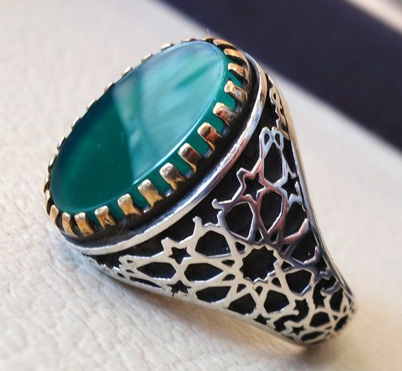 Mens Emerald Ring Silver Ring Ottoman Style Ring Silver 925 Yemeni Mens Ring Gift for Him Ottoman Style Ring Silver 925 Men/'s Ring